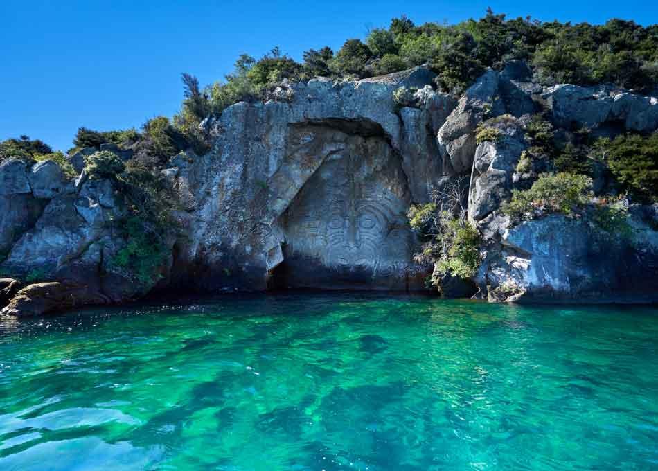 Ancient Maori Rock Lake Taupo