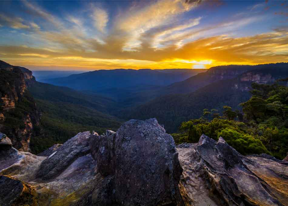 Beautiful sunset in Blue mountains national park, Australia