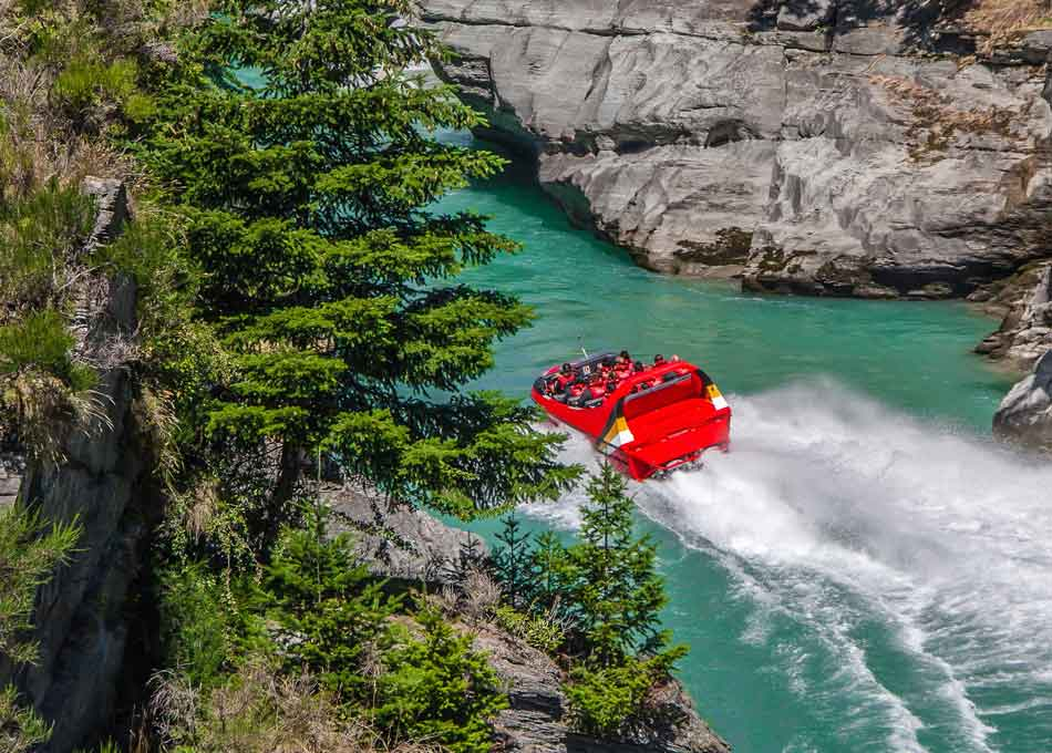 Jet boating at Dart River in New Zealand