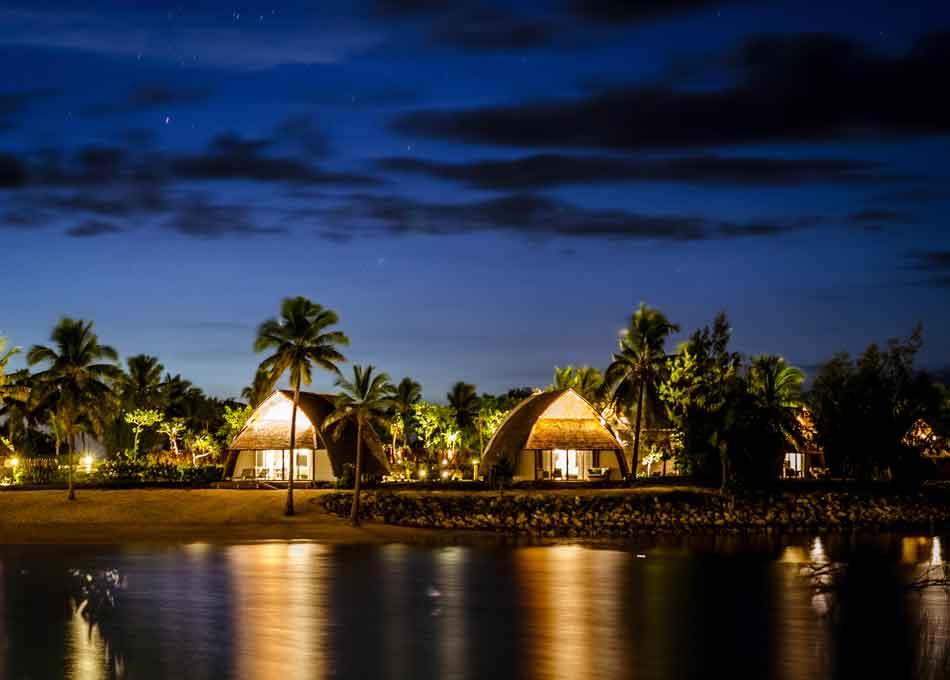 Lagoon and bure view in Fiji