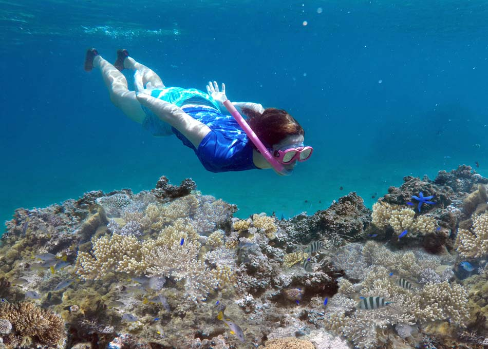 Young woman snorkeling underwater over a coral reef in a tropical resort on Vanua Levu Island, Fiji